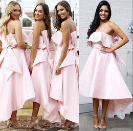 d2e72994762 AsymmetricAl teA length dresses online shopping - Fashion Pink Bow Backless  Bridesmaid Dresses Strapless Tea length