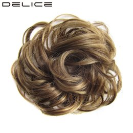 bun rings wholesale NZ - DELICE Girls Curly Scrunchie Chignon With Rubber Band Brown Blonde Synthetic Hair Ring Wrap For Hair Bun Ponytail