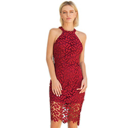Discount short red dress size xl - 2018 Women Summer Lace Slim Mini Dress Sex Hollow Out Back Dress Vestidos Plus Size clothing short red evening dress Par