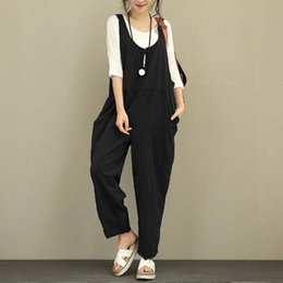 fa3f9f059a1 2018 Loose Harem Overalls Women Summer Cotton Jumpsuits Strap Casual Baggy  Harem Trousers Pants Vintage Rompers Pocket Plus Size