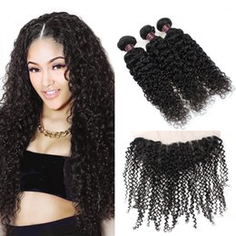 Discount kinky curly human hair - Wholesale Cheap 8A Brazilian Hair 3Bundles With Lace Frontal Kinky Curly Virgin Hair Extensions Ishow Human Hair Bundles