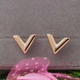 $enCountryForm.capitalKeyWord Australia - Fashion new stereo V-shaped earrings Titanium steel 18k rose gold earrings ladies jewelry best selling bestseller