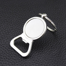 Discount keys kitchen - Beer Bottle Opener Key Rings DIY For 25mm Glass Cabochon Keyrings Engraving Gifts Zinc Alloy Kitchen Bar Tools Men Gifts