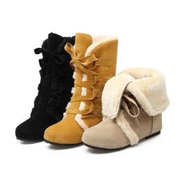 $enCountryForm.capitalKeyWord Canada - Sweet Winter Warm Female Snow Boots Mid-Calf Women Lace Up Fur Ankle Flat Boots Ladies Womens Shoes Large Size:34-43 BX2741
