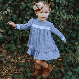 Linen dress for kids online shopping - Child Girl Dress Lace Long Sleeve for autumn cotton linen dress baby fresh long sleeved lace skirt Kid Clothes