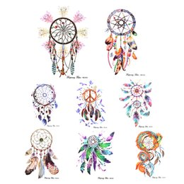 Chinese  DIY Colorful Feather Wind chimes 1 Sheet Temporary Tattoo Dream Catcher Tattoo Decal Designs Water Proof Stickers Body Ar manufacturers