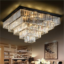 Drop Down ceiling lights online shopping - Modern Square Crystal Chandelier Light Fixture Clear Crystal Suspension Ceiling Lamp Good K9 Crystal Drop Lamparas for Living room Hotel