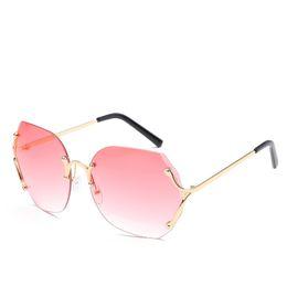 d9f83bf6cc34 Rimless Women Sunglasses Lady Eyewear Cut Edge Nice Eyewear Glasses Frame  Metal Candy Beauty Sexy Party Sunglass Oversized Sunglasses