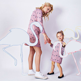 $enCountryForm.capitalKeyWord NZ - Mother Daughter Dresses Family Matching Outfits Flamingos Family Look Matching Clothes Mom And Daughter Dress Drop Shipping
