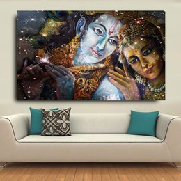$enCountryForm.capitalKeyWord NZ - 1 Pcs Large Size Krishna And Radha Buddha HD Canvas Oil Paintings For Living Room Wall Art Pictures Living Room No Framed