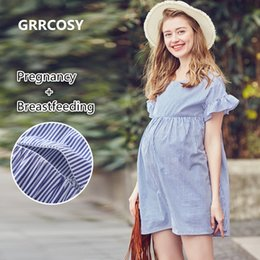 73aee8214105b Plus Size Nursing Clothes NZ - GRRCOSY Flounce Striped Maternity Pregnancy  Clothes Nursing Top Breastfeeding Clothes