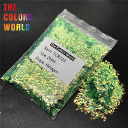 $enCountryForm.capitalKeyWord Australia - TCR333 Iridescent Rainbow Green Hexagon Shape Nail Glitter Nail Art Decoration BodyGlitter Makeup Face Paint Henna Handwork DIY