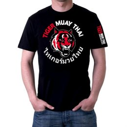 Wholesale Thai Tiger MMA Fight Men Jaula de combate Crown Boxing T-shirts Muay Thai Mens XXL Hight Quality Cotton Tee Muay Thai Shorts