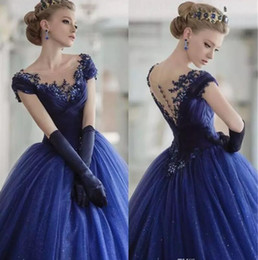 silver sweet 16 court dresses Australia - 2018 Vintage Quinceanera Ball Gown Dresses Scoop Neck Cap Sleeves Lace Appliques Tulle Navy Blue Long Sweet 16 Party Long Prom Evening Gowns