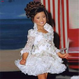 LittLe bLack dress toddLer girLs online shopping - Glitz Girls Pageant Dresses For Little Girls Princess Ball Gowns Sleeve Beads Crystal Rhinestone Ruffles Toddler Cupcake Pageant Dress