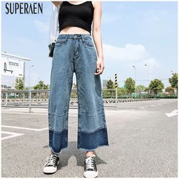 $enCountryForm.capitalKeyWord Canada - SuperAen Europe Loose Fashion Women Jeans Wide Leg Pants Wild Casual New Autumn 2018 Ladies Jeans Ankle-length Pants Female