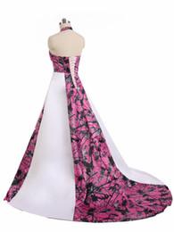 Satin Corset Back Wedding Dress UK - A-line Camo Wedding Dresses Gowns Lace-up Back Plus Size Halter Corset Country Camo Bridal Dresses Gowns Plus Size