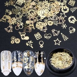 Wholesale Gold Glitter Boxes NZ - Christmas Nail Decoration Accessories 3D Gold Sequins Box Mix Design Ring Bell Elk Snowflake Metal Flakes Glitter Tips Set SA708