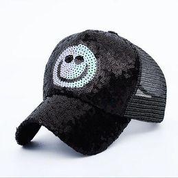 00a79bffba7 Punk Mesh Cap Adjustable Cotton Hat Snapback Outdoor Sports Smiling Face  Sequins Gorras Hip Hop Men Women Baseball Cap