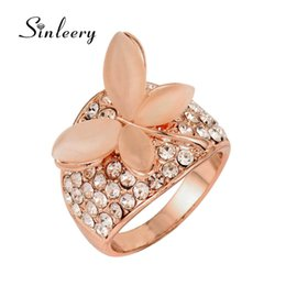 Discount valentine gold rose - SINLEERY Luxury Opal Stone Butterfly Rings For Women Rose Gold Color Cubic Zirocnia Engagement Jewelry Valentines Gift J
