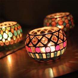 Discount retro home bars - Retro Mosaic Design Classic Candleholder Glass Material Fashion Candlestick For Bar Home Novelty Romantic Decoration Pro