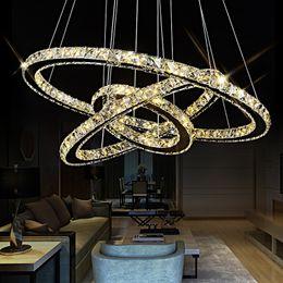Discount aluminum pendant light fixture - 3 Rings Crystal LED Chandelier Pendant Light Fixture Crystal Light Lustre Hanging Suspension Light for Dining Room Foyer