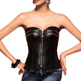 $enCountryForm.capitalKeyWord Australia - Women Black Front Zipper Solid Color Body Shapers Overbust Waist Cincher Bustier Sexy Faux Leather Lingerie Corsets 1pc bag Drop Shipping