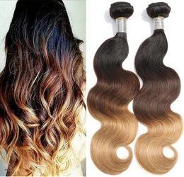 $enCountryForm.capitalKeyWord NZ - Hot Sale 3 Tone Color Hair #1b 4 27 Body Wave Brazilian Virgin Human Hair Ombre Hair Weft 3PCS Free Shipping