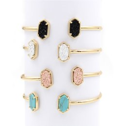 Copper jewelry display online shopping - whole saleFashion Oval Double Resin Druzy Bracelets Bangles for Women Jewelry Display