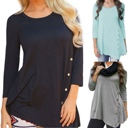 0afe01487b6 Women Long Sleeve Loose Button Trim solid color Round Neck Tunic T-Shirt  Autumn Spring Cotton Blend Casual camiseta mujer