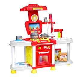 Girls Kitchen Play Set Australia - LeadingStar Kitchen Toy Set Kids Simulation Kitchen Toys Baby Toys Set With Light & Sound Red Baby Pretend Play Gifts