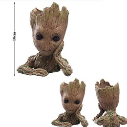 $enCountryForm.capitalKeyWord UK - New Fashion Guardians of The Galaxy Flowerpot Baby Groot Action Figures Cute Model Toy Pen Pot Best Christmas Gifts For Kids