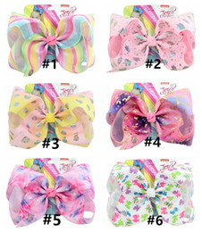 $enCountryForm.capitalKeyWord NZ - JOJO 8 inch Girls Baby Large hairpin Rainbow HAIR BOW with card and sequin logo Children Hair Accessories fashion hair clip free shipping