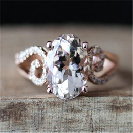 $enCountryForm.capitalKeyWord Australia - Rose Gold Color Ring White Stone Rings for Women Wedding Engagement Crystal Ring Jewelry Bague Femme Luxury Anillos Mujer Z3D154