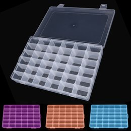Plastic Case Compartment NZ - Adjustable 36 Compartment Plastic Storage Box Jewelry Earring Case Storage Case Colorful Bead Rings Jewelry Display Organizer