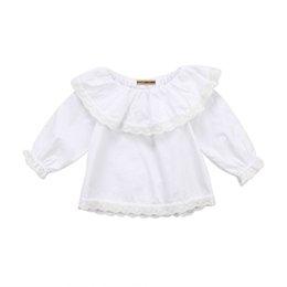 5430b4aed66cb Muito Recém-nascido Do Bebê Meninas Infantil Princesa Rendas Ruffles Manga  Longa Tops Roupas de Algodão Blusa Crianças Outwear Blusas Do Partido  Camisas