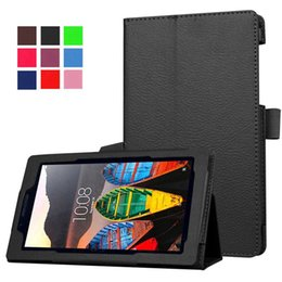 Litchi foLio cover case online shopping - Case for Lenovo inch Cover Protector Shell Stand Flip Litchi Grain PU Leather Cover for Tab quot