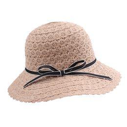 2018 Summer Female Hat Fashion Women Straw Floppy Hat Wide Brim Bowknot  Foldable Sun Beach Holiday Casual Cap Visor 2018 e5739df74dce