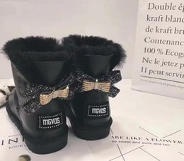 DiamonD knee high boots online shopping - 2019 Australia WGG classic high diamond rhinestone winter boots leather Bailey bow ladies double drill bow Snow boots women s shoes Diamond