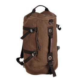 $enCountryForm.capitalKeyWord NZ - Large Capacity Canvas Round Bucket Backpack Male Mountaineering Hiking Rucksack Travel Army Shoulder Bags Gym Bag Fitness