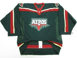 China Cheap custom HOUSTON AEROS AHL GREEN TEAM ISSUED 6100 HOCKEY JERSEY stitch add any number any name Mens Hockey Jersey XS-5XL cheap jersey houston suppliers