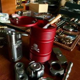 Oil Barrel Drum Canada - Outdoor Camping Equipment Car Ashtray Cigar Creative Metal Aluminum Alloy Storage Tank Oil Drum Gift Fashion Barrel Shaped Car Cigarette Ash