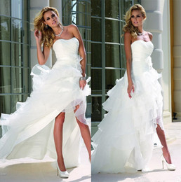 china dress zipper Australia - Modest Tiered Organza High Low Wedding Dresses with Sash Sweetheart Zipper Back Summer Bridal Dresses China