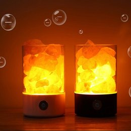 Originalità Nuovo modello Crystal Salt Lamp Himalayan Bedroom Bedside Small Night-light Romantic Decoration Atmosphere Desk Lamp Cross border
