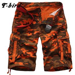Discount knee length compression shorts - T-Bird Brand 2017 Mens Shorts Casual Bermuda Compression Male Loose Cargo Shorts Men Linen Fashion Men Short Summer Line