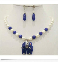$enCountryForm.capitalKeyWord Australia - Natural white rice pearl & blue jade elephant pendant necklace earrings Set