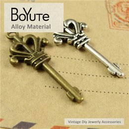 $enCountryForm.capitalKeyWord NZ - BoYuTe (50 Pieces Lot) 37*16MM Vintage Korea Key Accessories Parts Antique Bronze Silver Diy Key Pendant Charms Materials for Jewelry Making