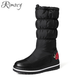 Down Shoes NZ - Rimocy Winter Women Snow Boots Mid-Calf Plush Down Boots Female Waterproof Ladies Emboridery Snow Cotton Shoes Woman