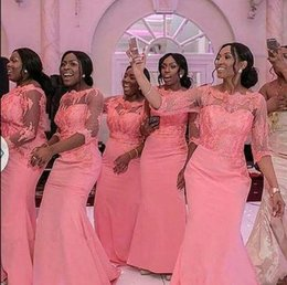 Discount nigeria bridesmaid dress lace - 2018 Nigeria 1 2 Long Sleeves Mermaid Long Bridesmaid Dresses Cheap Satin Tulle Applique Sweep Train Honor Of Maid Weddi