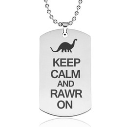 China Dinosaur Pendant Necklace Stainless Steel Laser Engraving Gifts for Kids Dinosaur Fans Punk Style Man Necklaces Wholesale cheap laser slides suppliers